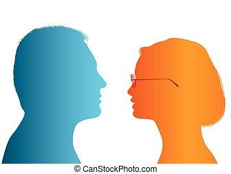profil, dialogue, silhouette, coloré, femme affaires, gens., entre, couple., conversation, vecteur, businessman., communication, woman., discuter, homme