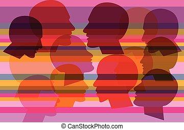 profil, dialogue., tête, humain