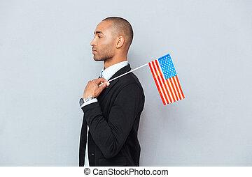 profil, drapeau, nous, jeune, américain, homme africain