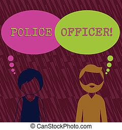 profil, durchsetzung, bärtig, frau, gesichtslos, officer., bunte, bubble., text, ausstellung, mannschaft, zeichen, gedanke, offizier, demonstrieren, leer, begrifflich, polizei, gesetz, fotomann