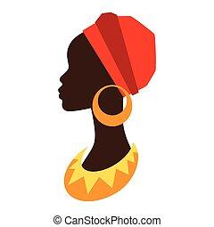 profil, earrings., girl, silhouette, africaine