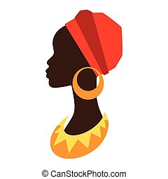 profil, earrings., m�dchen, silhouette, afrikanisch