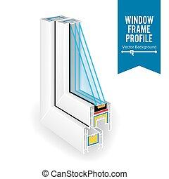 profil, energiesparen, drei, abbildung, plastik, vektor, glas., fenster., durchsichtig