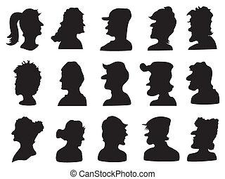 profil, ensemble, silhouette, gens
