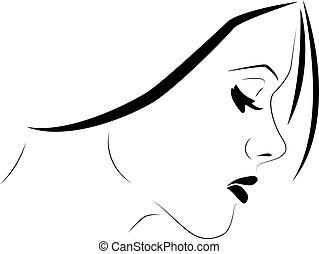 profil, følsom, kvinde