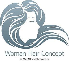 profil, femme, concept