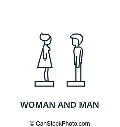 profil, femme, linéaire, concept, symbole, signe, vecteur, icône, ligne, homme, contour