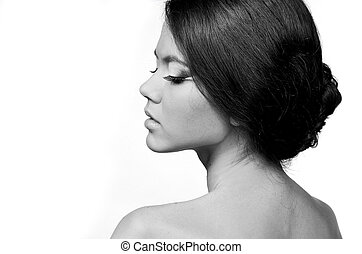 profil, femme, naturel, figure, beauté, isolé, closeup, fond, portrait, blanc