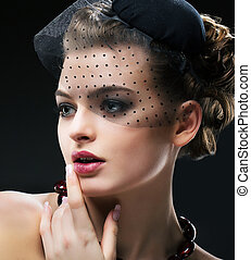 profil, femme, romantique, vendange, hat., aristocratique, noir, retro, appelé, voile