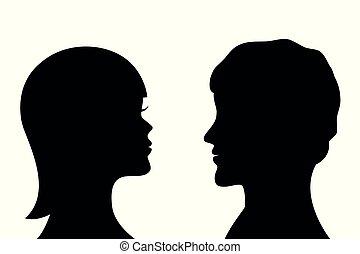profil, femme, silhouette, côté, homme