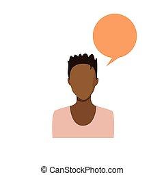 profil, femme, silhouette, figure, personne, américain, avatar, africain femelle, portrait, désinvolte, icône
