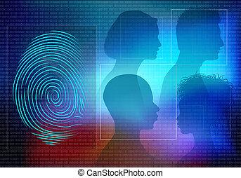 profil, femme, silhouette, gens font face, système, identification., fond, empreinte doigt, biometric, électronique, identité, homme