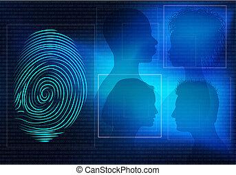 profil, femme, silhouette, identity., gens font face, système, individu, identification, fond, empreinte doigt, biometric, électronique, homme