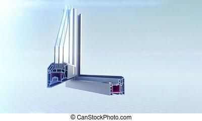 profil, fenêtre, coupure, animation, plastique