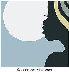 profil, figure, femme, africaine
