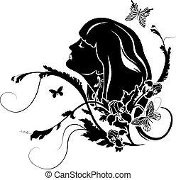profil, fleurs, femme