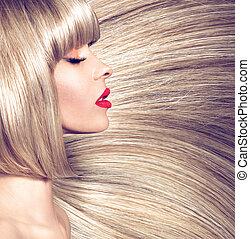 profil, fotografera, kvinna, rak, långt hår