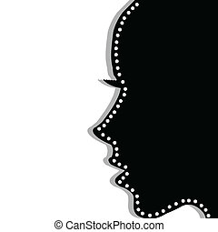 profil, frau, aus, stilisiert, hintergrund, weißes
