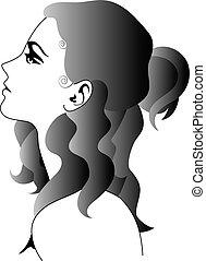 profil, frau
