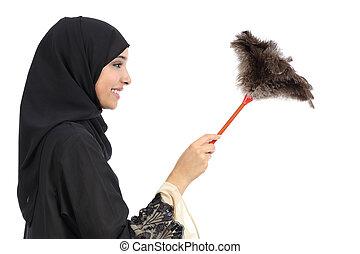 profil, frau, staubwedel, araber, putzen, sauber