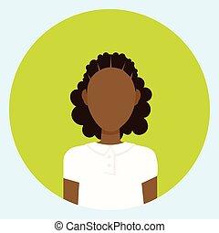 profil, frauengesichter, amerikanische , avatar, weiblicher afrikaner, runder , ikone