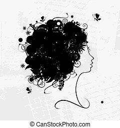 profil, frisur, silhouette, design, weibliche , blumen-, dein