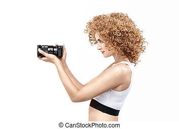 profil, frizzy-haired, dame, porträt, genommen