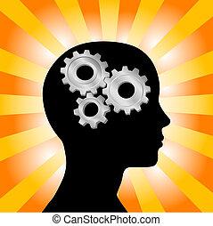 profil, głowa, kobieta, przybory, myślenie, żółty, promienie, pomarańcza