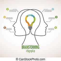 profil, głowy, handlowy, rainstorming, idea, andb, ludzki, infographics, lightbulb.