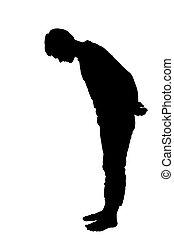 profil, garçon, adolescent, entiers, silhouette, regarder, longueur, portrait, côté, bas