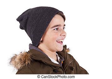 profil, garçon, sourire, blanc, isolé