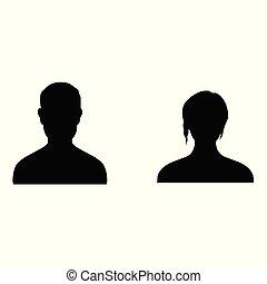 profil, gens, isolé, silhouettes, fond, blanc