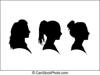 profil, girl, silhouette