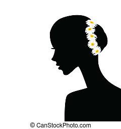 profil, haar, frau, chamomiles, sie