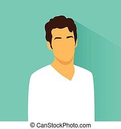 profil, hispanic, avatar, portret, samiec, przypadkowy, ...