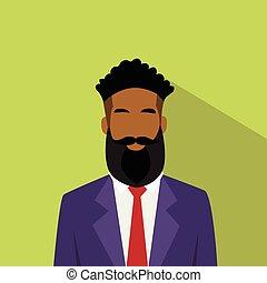profil, homme affaires, mâle, avatar, américain, ethnique, africaine, icône