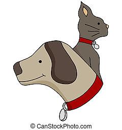 profil, hund, katz