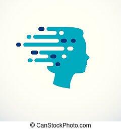 profil, huvud, kläckning av ideer, begrepp, gripande, ...