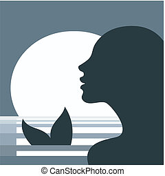 profil, huvud, sjöjungfru