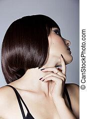 profil, i, en, smuk kvinde, hos, kort hår
