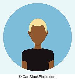 profil, icône, figure, américain, avatar, mâle africain, rond, homme