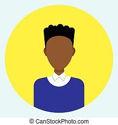 profil, ikone, gesicht, amerikanische , avatar, afrikanischer mann, runder , mann