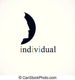 profil, indywidualność, pojęcie, na, twarz, ciemny, wektor, człowiek, ikona, logo, koło, albo, design.