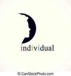 profil, indywidualność, pojęcie, na, wektor, twarz, ciemny, kobieta, ikona, logo, koło, albo, design.