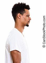 profil, jeune homme, africaine, vue, beau