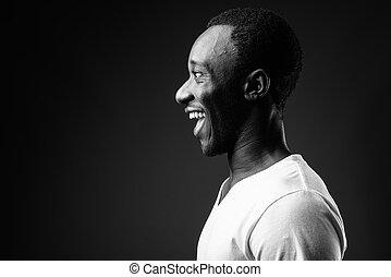 profil, jeune, noir, africaine, portrait, sourire, vue, blanc, homme
