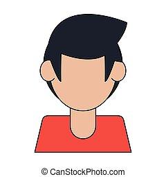 profil, junger mann