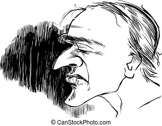 profil, karikatur, mann