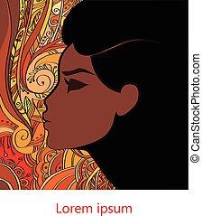 profil, kobieta, afrykanin