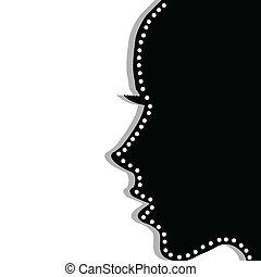 profil, kobieta, na, stylizowany, tło, biały